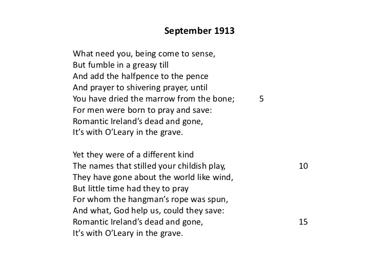 Yeats' Presentation of Romantic Ireland in September 1913